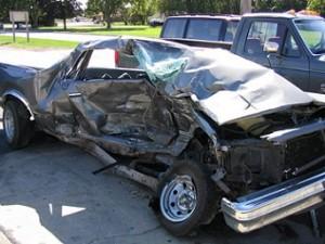 een sloopauto door een ongeluk